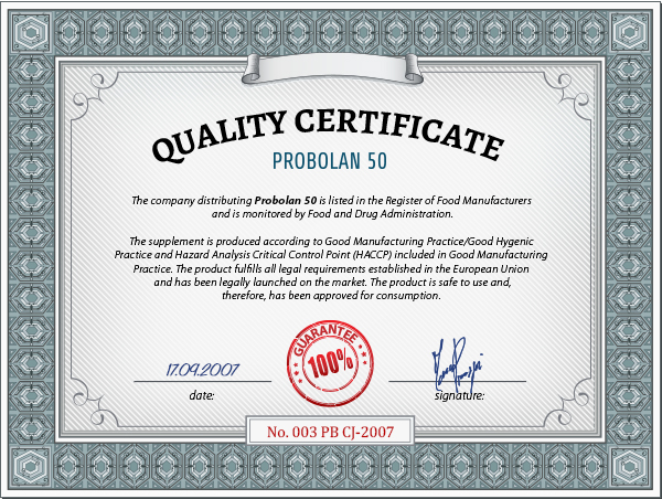 certyfikat probolan 50
